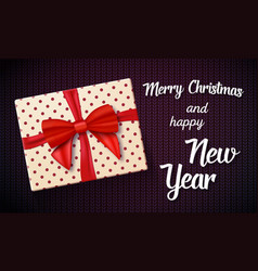 Marry christmas greeting card with 3d realistic vector