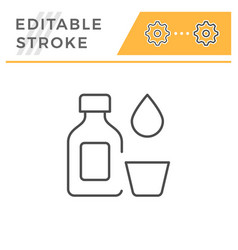 medicine bottle editable stroke line icon vector image