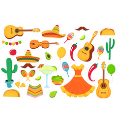mexican musical instruments local food clothing vector image
