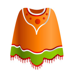 Mexican poncho icon cartoon style vector