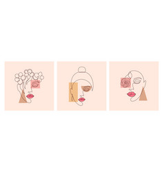 Modern collage with women faces vector