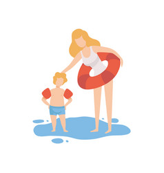 Mother and her son standing in water boy wearing vector