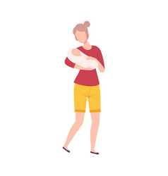 Mother holding bain her arms happy parenthood vector