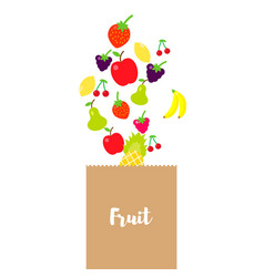 multicolored fruits are poured into a craft vector image