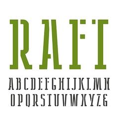 Narrow slab serif stencil plate font vector