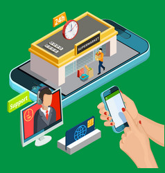 online shopping isometric design concept vector image