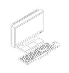 Outline a computer keyboard and mouse in high vector