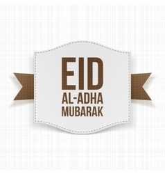 Paper Label with Eid al-Adha Text and Ribbon vector