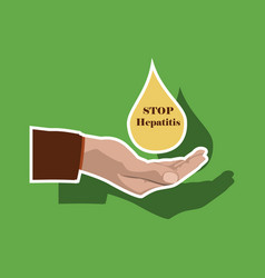 Paper sticker on theme world hepatitis day drop vector