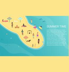people at peninsula beach performing leisure vector image