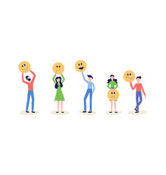 people hold smile face icon or emoticon set of vector image
