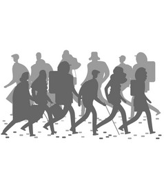 people silhouettes walking on the winter or autumn vector image