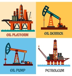 Petroleum production and oil derrick flat icons vector