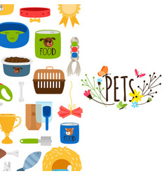 pets background with pet shop icons vector image