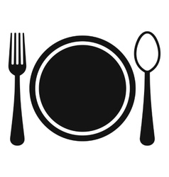 Place setting with platespoon and fork icon vector image