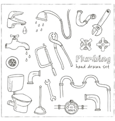 Plumbing hand drawn decorative icons set vector image