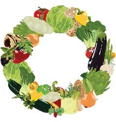 Range of vegetables on white background vector