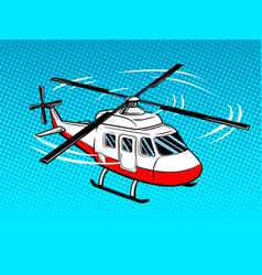 Rescue helicopter pop art vector