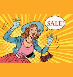 Retro lady enjoys sale vector