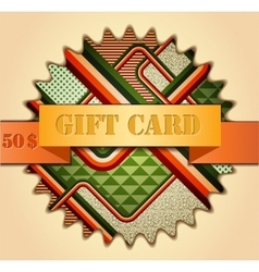 Retro stile abstract gift card vector