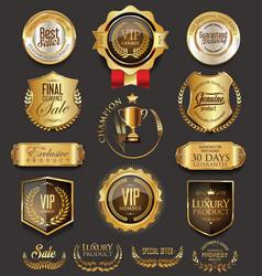 retro vintage golden badges collection vector image