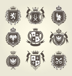 royal blazons and coat of arms - knight heraldic vector image