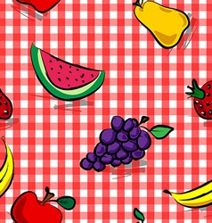 Seamless grungy fruits over red gingham pattern vector