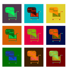 Set of flat shading style icon shopping cart vector