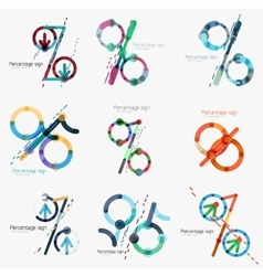 Set of percentage signs flat design vector