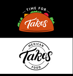 set of tacos hand written lettering logo vector image