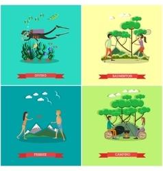 set summer outdoor activities concept vector image