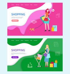 shopping hobby of women females spending weekends vector image