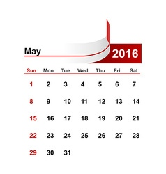 simple calendar 2016 year may month vector image
