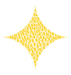 Sparkle star composition of dollar and dots vector