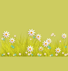 Spring grass and flowers border on green vector