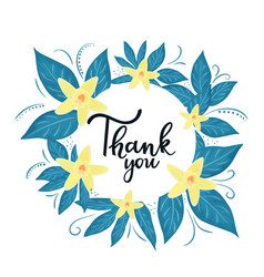 Thank you hand lettering thanksgiving orchid vector