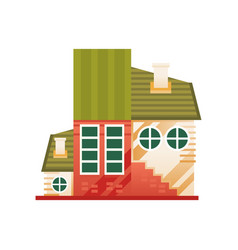 traditional country cottage front view vector image
