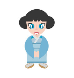 Traditional japanese girl blue kimono vector