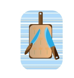 Two knives and a cutting board vector image