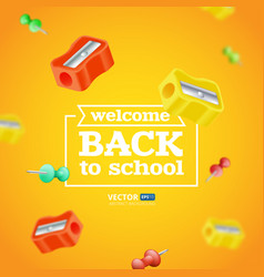 welcome back to school poster or banner with vector image