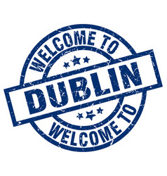 Welcome to dublin blue stamp vector