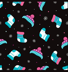 winter pattern with warm accessories vector image