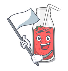 With flag strawberry smoothie mascot cartoon vector