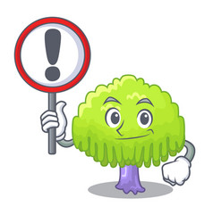 With sign isolated weeping willow on the mascot vector