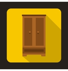 Wooden wardrobe icon flat style vector