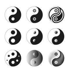 Yin Yang Symbol Of Balance And Harmony Set vector
