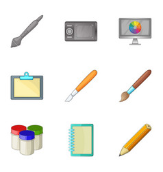 computer drawing tools icons set cartoon style vector image