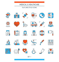 flat line design medical icons 1 vector image vector image