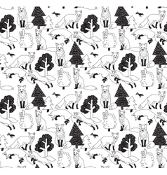 Fox forest black and white seamless nature pattern vector image