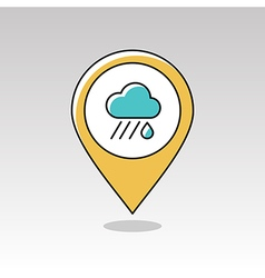 Rain Cloud pin map icon Downpour Weather vector image vector image